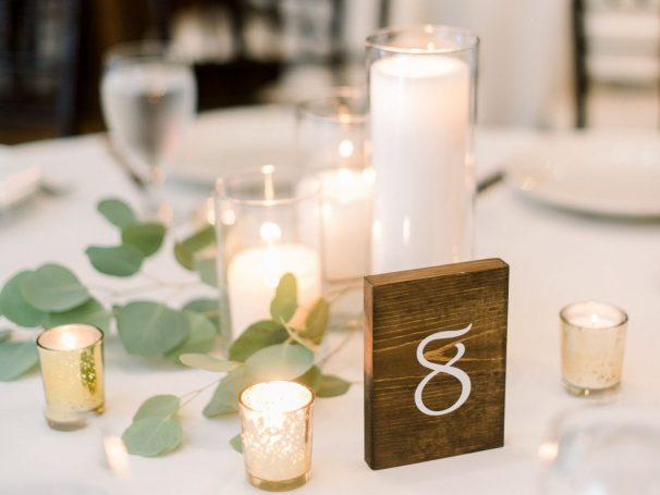 Glass Cylinders with Pillar Candles | Votives Candles | Fresh Greenery | Wood Block Table Numbers